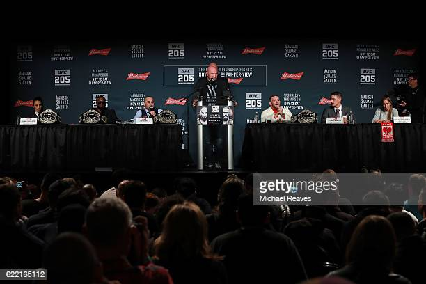 A general view from the UFC 205 press conference at The Theater at Madison Square Garden on November 10 2016 in New York City