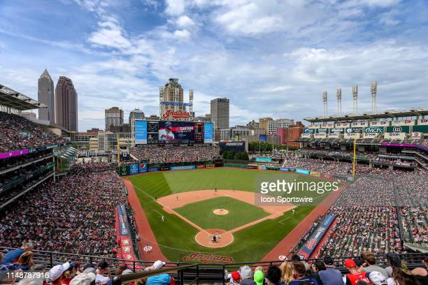 A general view from the upper deck during the sixth inning of the Major League Baseball game between the New York Yankees and Cleveland Indians on...