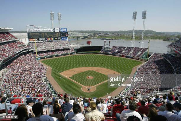A general view from the upper deck of the Great American Ballpark between the Philadelphia Phillies and the Cincinnati Reds on April 12 2003 in...