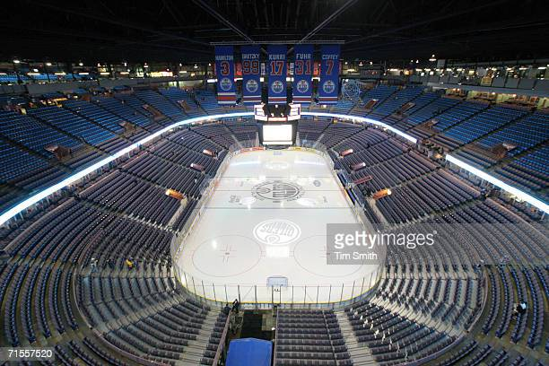 General view from the upper decks of the ice and seats at Rexall Place a hockey and lacrosse venue and the home of the NHL's Edmonton Oilers Edmonton...