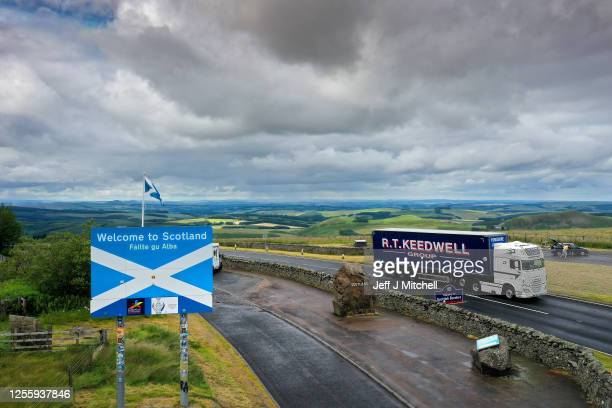 A general view from the view point on the A68 at Carter Bar at the top of Redesdale in the Cheviot Hills on the border between Scotland and England...
