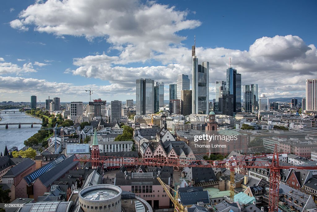 A general view from the viewing platform of the dome to the old town and the finance district of Frankfurt on October 5, 2016 in Frankfurt, Germany. Banks across Europe are struggling as their profits have fallen amid an ongoing period of low interest rates, and many, including Commerzbank and Deutsche Bank of Germany, ING and ABN Amro of Holland, and Banco Popular of Spain, are responding by slashing thousands of jobs in an effort to cut costs.