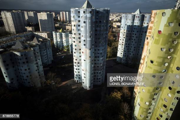 A general view from the window of a residential appartment shows The Tours Aillaud also known as Tours Nuages on November 23 2017 in Nanterre near...