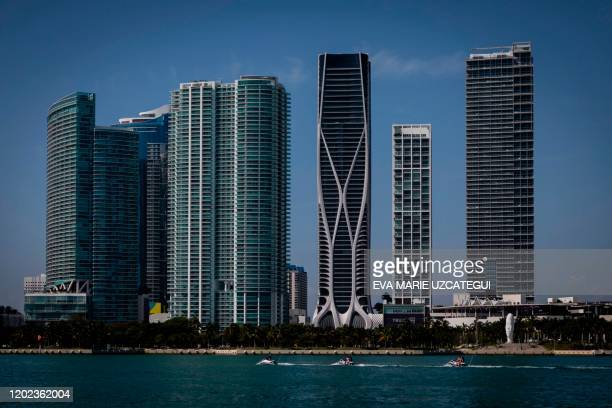 A general view from Watson Island of One Thousand Museum building in Miami on February 14 2020 In the heart of Miami among the towering skyscrapers...