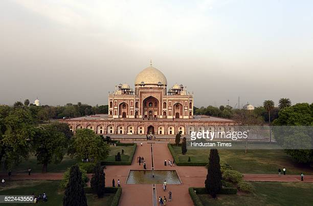 General view Humayun Tomb a UNESCO World Heritage Site with 24carat gold finial installed atop the tomb's majestic dome after its unveiling by Union...