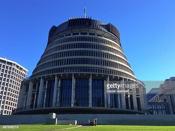 General view if the Beehive, executive wing of parliament, in Wellington, New Zealand