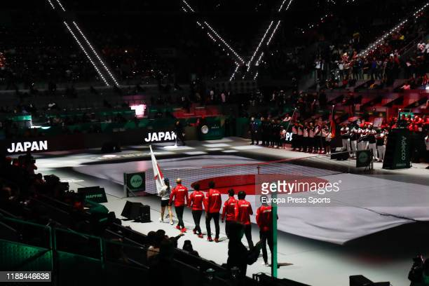 General view illustration Japan Team enter the court during the Ceremony of Presentation of the Davis Cup by Rakuten Madrid Finals 2019 celebrated at...