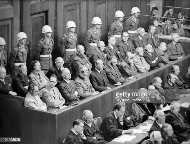General view in 1946 or 1947 of Nazi war criminals in the dock during the Nuremberg trials from left to right first row Hermann GÖRING Rudolf HESS...