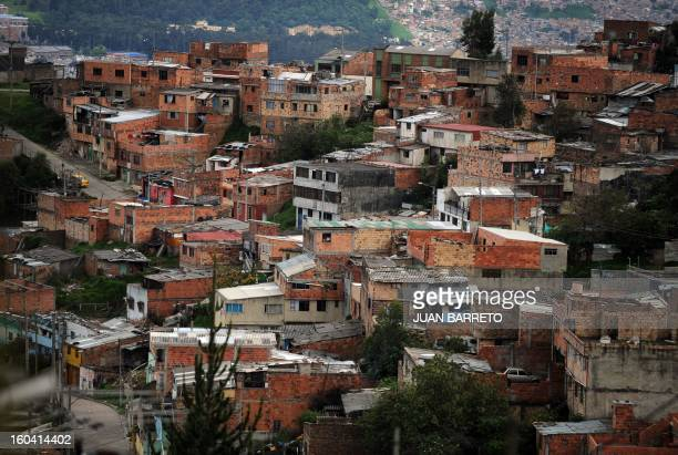 General view in a populous neighborhood of Bogota on June 16 2010 Colombian presidential candidate for the Green Party Anthanas Mockus will face...