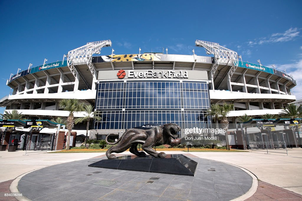 A general view in front of EverBank Field before the Jacksonville Jaguars host the Tampa Bay Buccaneers for a preseason game at EverBank Field on August 17, 2017 in Jacksonville, Florida.