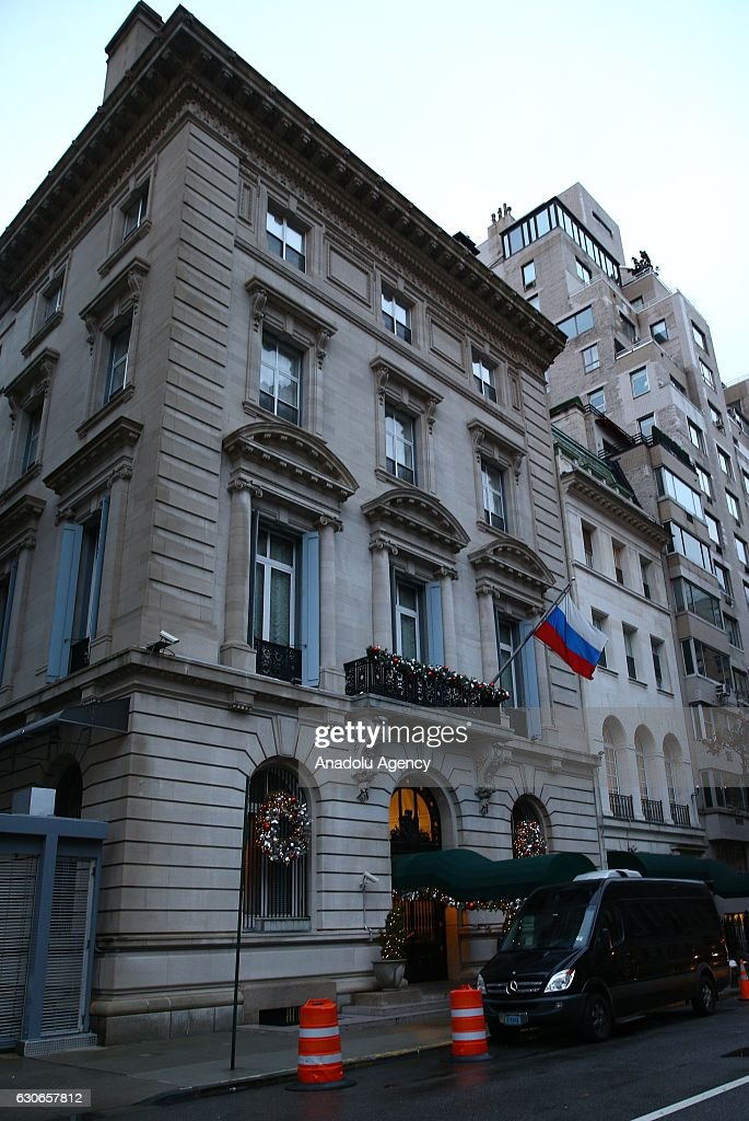 A general view in front of the Russian embassy in New York