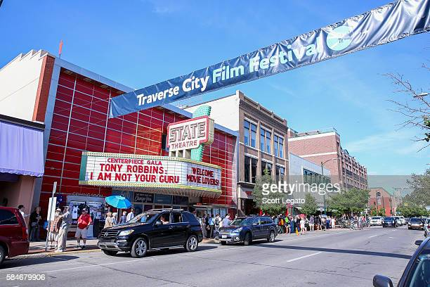 General view in front of the State Theater during the screening of I Am Not Your Guru during the Traverse City Film Festival on July 29, 2016 in...