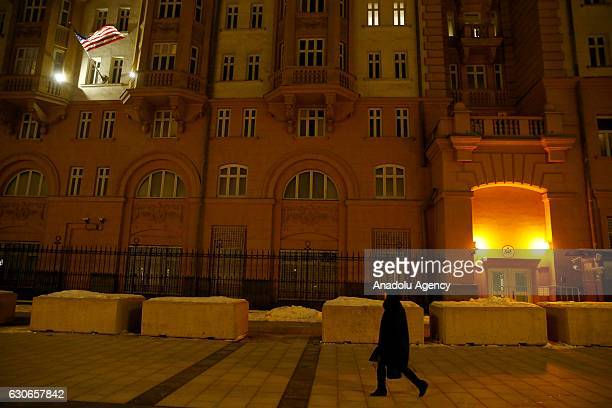 A general view in front of the US embassy in Moscow Russia on December 30 2016 The US on Thursday applied wideranging penalties on Russia for its...