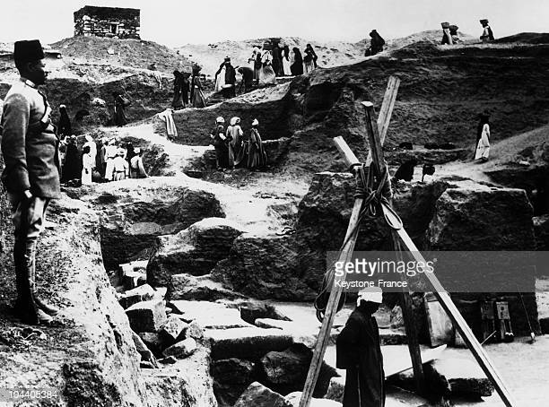 General view in March 1939 on the site at Tanis in the Nile Delta in Egypt of the archaeological digs undertaken to uncover the vestiges of the tomb...