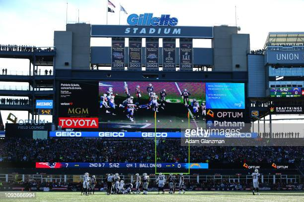 General view in the AFC Divisional Playoff Game between the New England Patriots and the Los Angeles Chargers at Gillette Stadium on January 13, 2019...