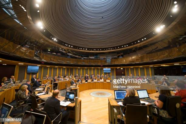 General view in the debating chamber of the Senedd, home of the National Assembly for Wales as First Minister of Wales Mark Drakeford speaks on...