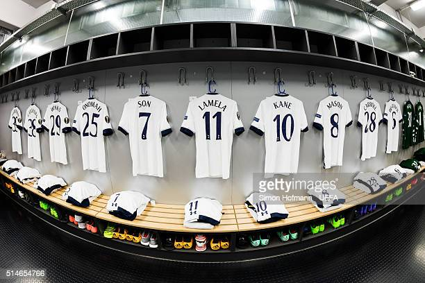 A general view in the dressing room of Tottenham prior to the UEFA Europa League Round of 16 First Leg match between Borussia Dortmund and Tottenham...