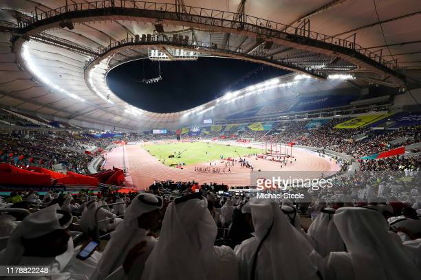 General view in the Men's 1500 Metres heats during day seven of 17th IAAF World Athletics Championships Doha 2019 at Khalifa International Stadium on...