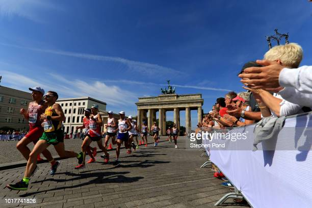 A general view in the Men's Marathon Final during day six of the 24th European Athletics Championships at Olympiastadion on August 12 2018 in Berlin...
