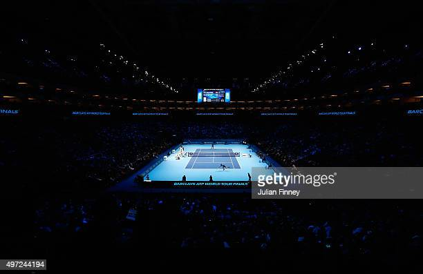 A general view in the men's singles match between Novak Djokovic of Serbia and Kei Nishikori of Japan during day one of the Barclays ATP World Tour...