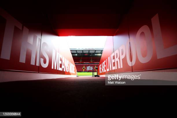 A general view in the tunnel ahead of the Premier League match between Liverpool FC and Southampton FC at Anfield on February 01 2020 in Liverpool...