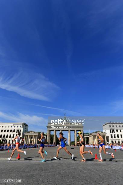 A general view in the Women's Marathon Final during day six of the 24th European Athletics Championships at Olympiastadion on August 12 2018 in...