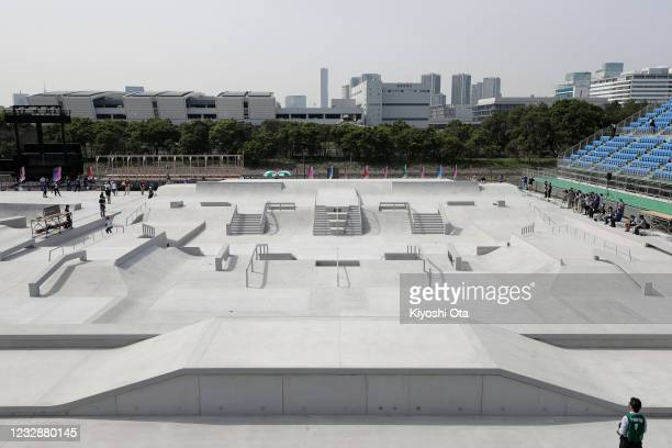 General view in the Women's Street event during the Skateboarding Olympic Test Event at the Ariake Urban Sports Park on May 14, 2021 in Tokyo, Japan.