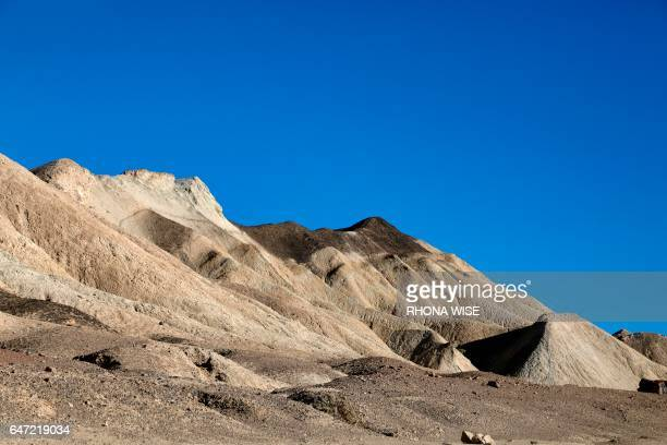 A general view in Twenty Mule Team Canyon in Death Valley National Park in Death Valley California on February 14 2017 / AFP PHOTO / RHONA WISE