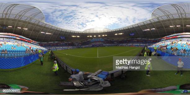 General view inisde the stadium prior to the 2018 FIFA World Cup Russia Quarter Final match between Sweden and England at Samara Arena on July 7 2018...