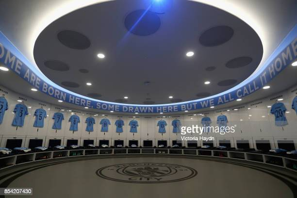 A general view insdie the Manchester City changing room prior to the UEFA Champions League Group F match between Manchester City and Shakhtar Donetsk...
