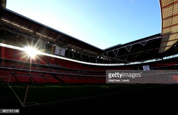 General view insdie the stadium prior to The Emirates FA Cup Third Round match between Tottenham Hotspur and AFC Wimbledon at Wembley Stadium on...
