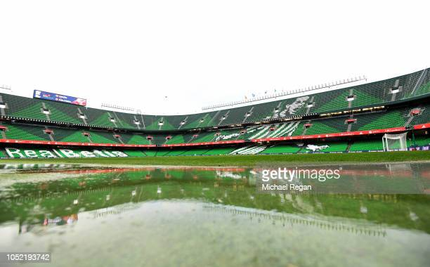 A general view inside a wet stadium prior to the UEFA Nations League A Group Four match between Spain and England at Estadio Benito Villamarin on...