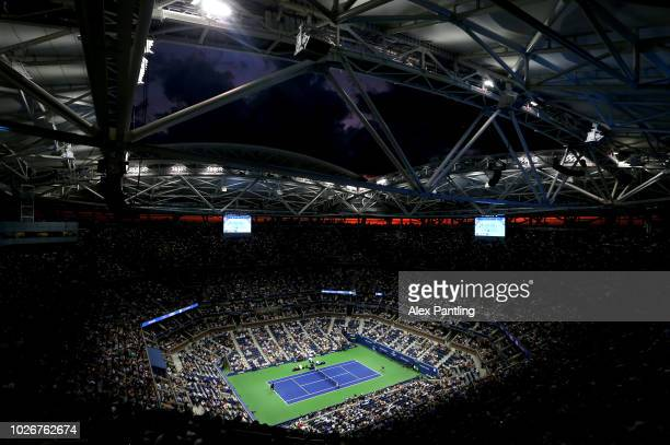 A general view inside Arthur Ashe Stadium during the women's singles quarterfinal match between Serena Williams of the United States and Karolina...