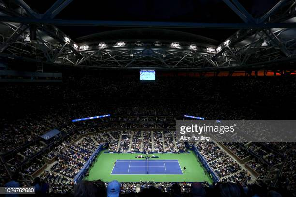 General view inside Arthur Ashe Stadium during the women's singles quarter-final match between Serena Williams of the United States and Karolina...