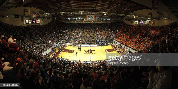 A general view inside Cassell Coliseum during a game between the Duke Blue Devils and the Virginia Tech Hokies on February 21 2013 in Blacksburg...