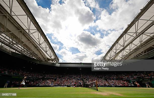 A general view inside centre court as Serena Williams of The United States plays Anastasia Pavlyuchenkova of Russia on day eight of the Wimbledon...
