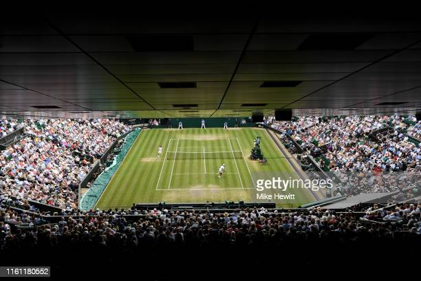 General view inside Centre Court during the Men's Quarter Final match between Novak Djokovic of Serbia and David Goffin of Belgium during Day Nine of...