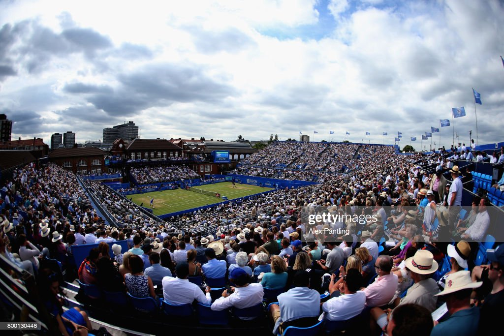 A general view inside centre court during the mens singles quarter final match between Grigor Dimitrov of Bulgaria and Daniil Medvedev of Russia on day five of the 2017 Aegon Championships at Queens Club on June 23, 2017 in London, England.