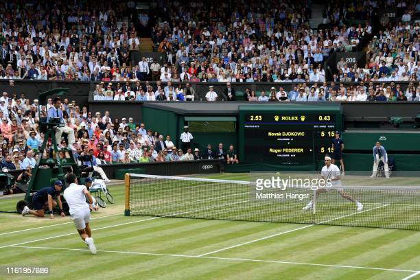 General view inside Centre Court in the Men's Singles final between Novak Djokovic of Serbia and Roger Federer of Switzerland during Day thirteen of...