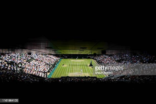 General view inside Centre Court in the Men's Singles final between Roger Federer of Switzerland and Novak Djokovic of Serbia during Day thirteen of...