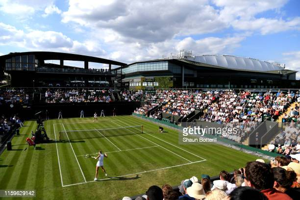 General view inside court 3 as Ons Jabeur of Turkey and Petra Kvitova of The Czech Republic play their Ladies' Singles first round match during Day...