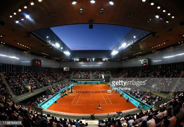 General view inside Court Arantxa Shanchez in the men's singles quarter-final match between Stafano Tsitsipas of Greece and Alexander Zverev of...