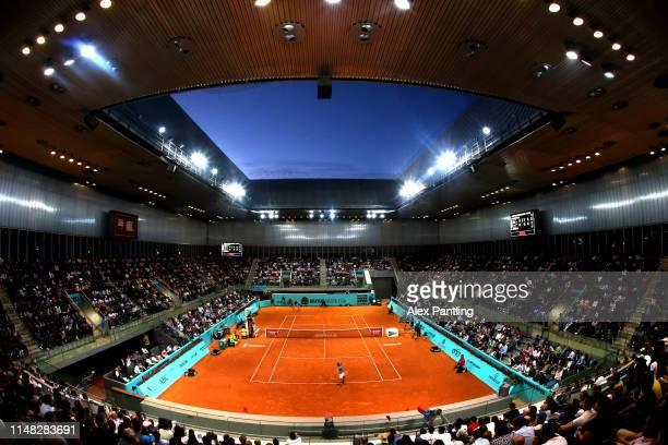 General view inside Court Arantxa Shanchez in the men's singles quarter-final match between Stafano Tsitsipas of Greece and Alexander Zverev of...