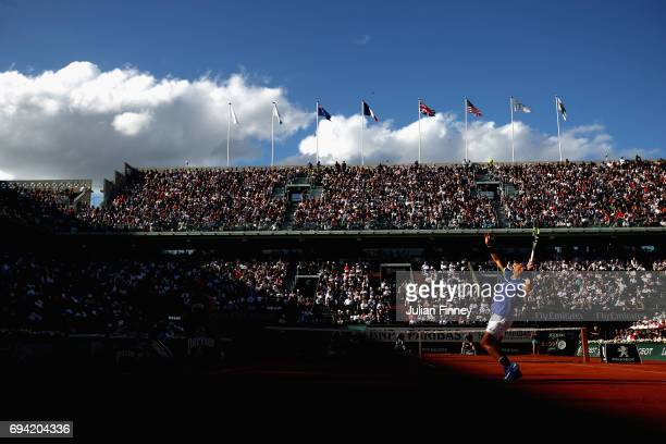 A general view inside Court Philippe Chatrier as Rafael Nadal of Spain serves during the mens singles semifinal match against Dominic Thiem of...