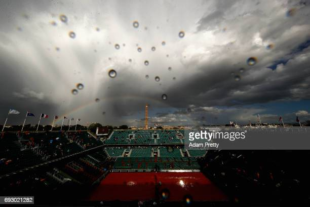 A general view inside Court Philippe Chatrier as the rain delay continues on day ten of the 2017 French Open at Roland Garros on June 6 2017 in Paris...