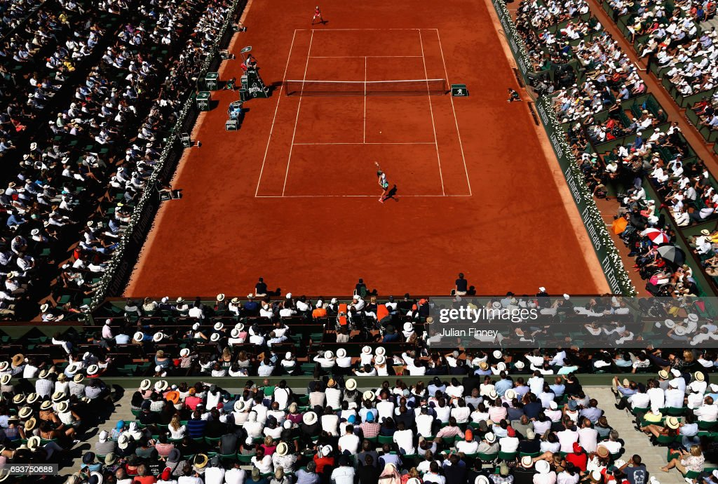 A general view inside Court Philippe Chatrier during the ladies singles semi-final match between Jelena Ostapenko of Latvia and Timea Bacsinszky of Switzerland on day twelve of the 2017 French Open at Roland Garros on June 8, 2017 in Paris, France.