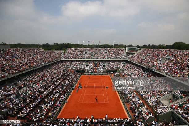 A general view inside Court Philippe Chatrier during the ladies singles final between Sloane Stephens of The United States and Simona Halep of...