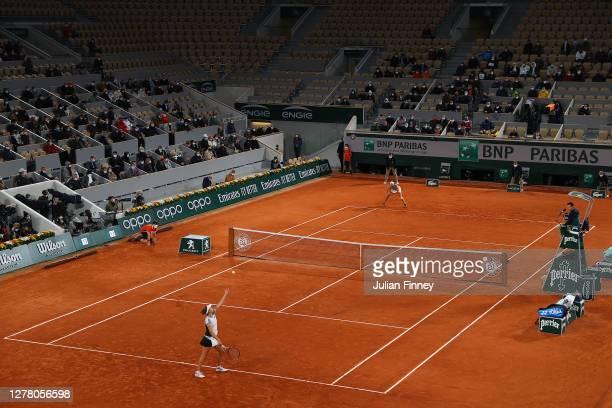 General view inside Court Philippe-Chatrier as Elise Mertens of Belgium serves during her Women's Singles third round match against Caroline Garcia...