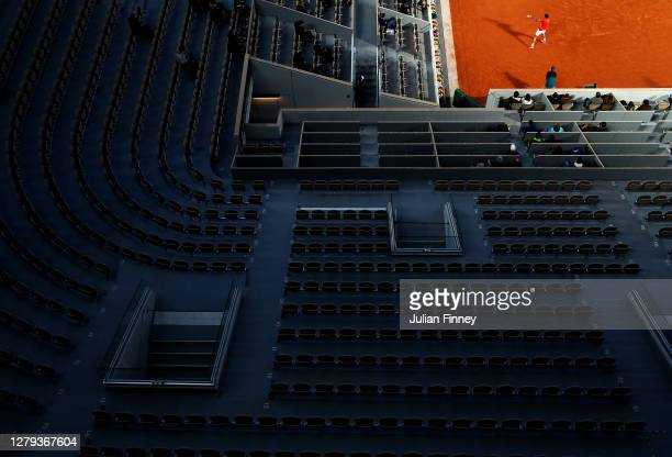 General view inside Court Philippe-Chatrier as empty seats are seen in the foreground as only a maximum of 1,000 spectators are permitted into the...