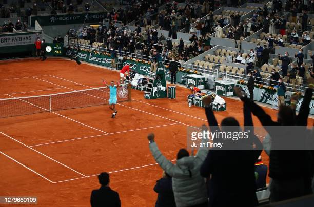 General view inside Court Philippe-Chatrier as Rafael Nadal of Spain celebrates after winning championship point during his Men's Singles Final...
